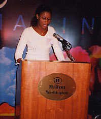 Carola Johnson at international poetry convention