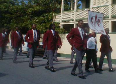 parade of Anglican Christian men of Harbour Island Bahamas